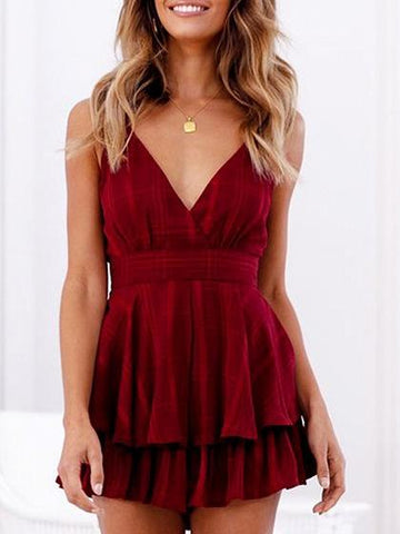 Red Chiffon Spaghetti Strap V-neck Tie Back Chic Women Romper Playsuit