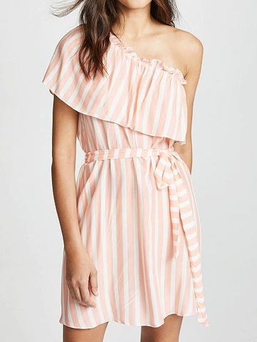 Pink Stripe Chiffon Asymmetric Neck Tie Waist Chic Women Mini Dress
