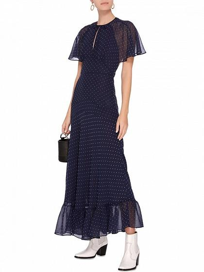 Dark Blue Chiffon Polka Dot Print Open Back Chic Women Maxi Dress