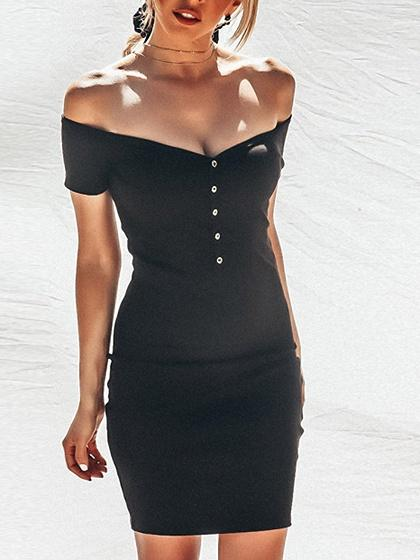 Black Cotton V-neck Button Placket Front Chic Women Mini Dress