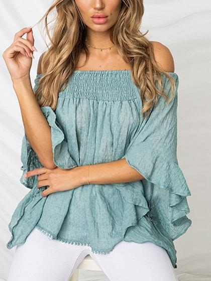 Blue Off Shoulder Flare Sleeve Chic Women Blouse