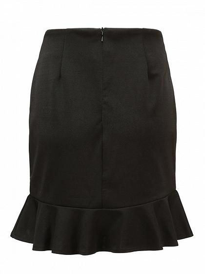 Black High Waist Ruffle Hem Chic Women Mini Skirt
