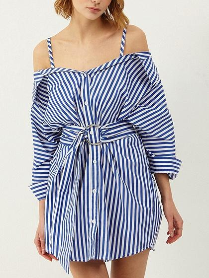 Blue Stripe Cotton Cold Shoulder Tie Waist Chic Women Mini Dress