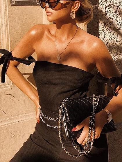 Black Off Shoulder Tie Detail Chic Women Bodysuit