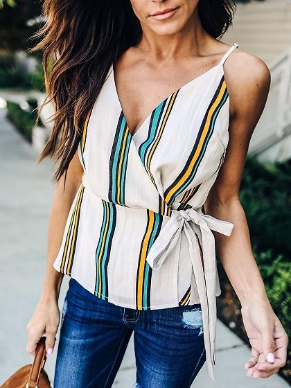 Multicolor Stripe Chiffon V-neck Tie Waist Chic Women Cami Top