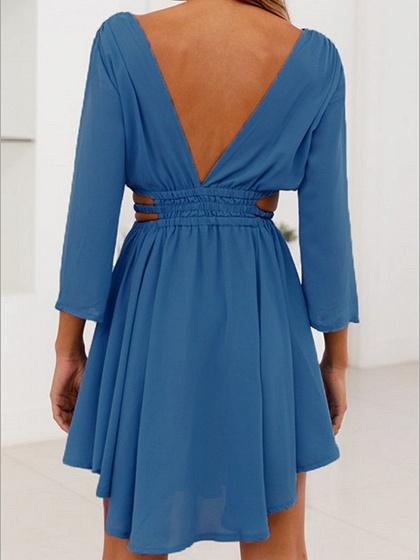 Blue Plunge Open Back Long Sleeve Chic Women Mini Dress