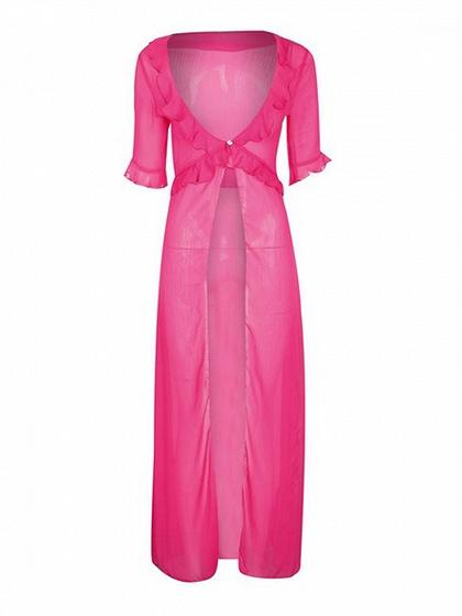 Hot Pink Plunge Thigh Split Front Ruffle Trim Chic Women Kimono