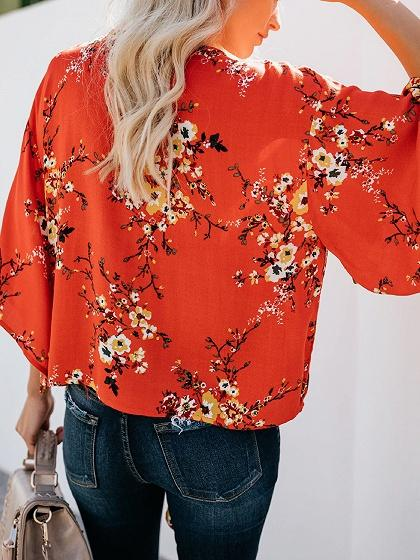Red Chiffon V-neck Floral Print Flare Sleeve Chic Women Blouse