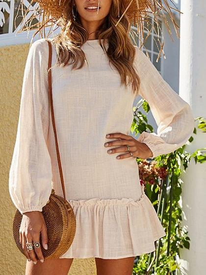 Beige Frill Trim Ruffle Hem Long Sleeve Chic Women Mini Dress