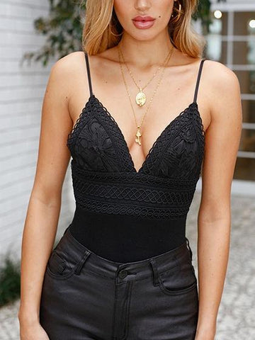 Black Cotton V-neck Lace Panel Open Back Chic Women Bodysuit