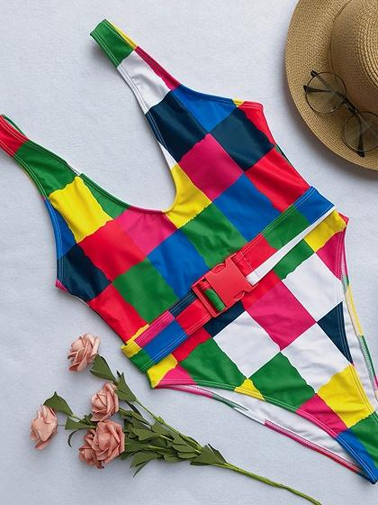 Multicolor Plaid Nylon Buckle Strap Waist Chic Women Swimsuit