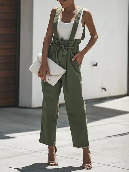 Army Green High Waist Shoulder Strap Tie Waist Chic Women Overall