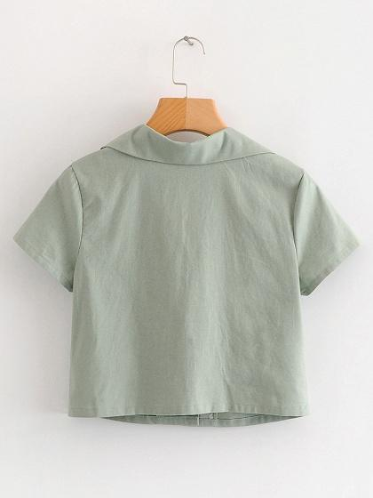 Army Green Cotton V-neck Button Placket Front Chic Women Crop Shirt