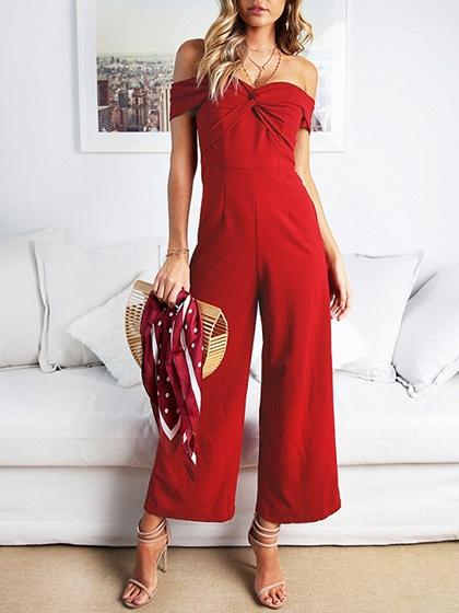 Burgundy Off Shoulder Knot Front Ruched Detail Chic Women Jumpsuit