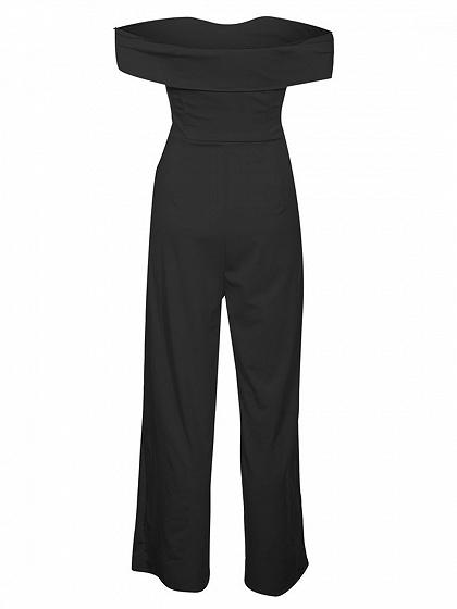 Black Off Shoulder Knot Front Ruched Detail Chic Women Jumpsuit