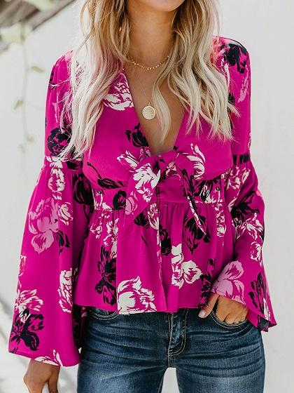 Hot Pink Plunge Floral Print Tie Front Flare Sleeve Chic Women Blouse
