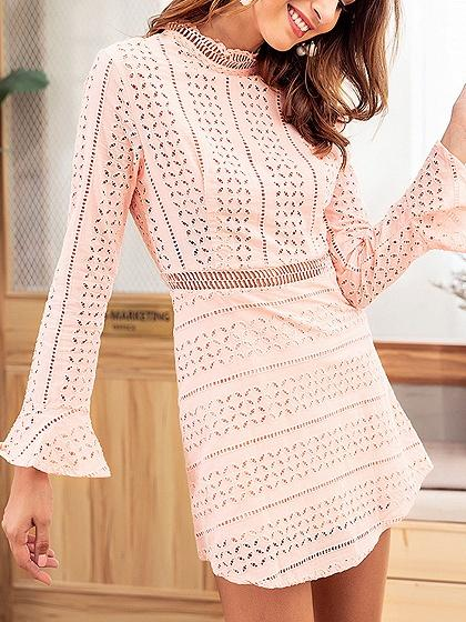 Pink Cut Out Detail Flare Sleeve Chic Women Lace Mini Dress