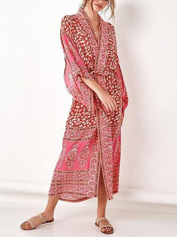 Red Folk Print Open Front Flare Sleeve Chic Women Longline Kimono