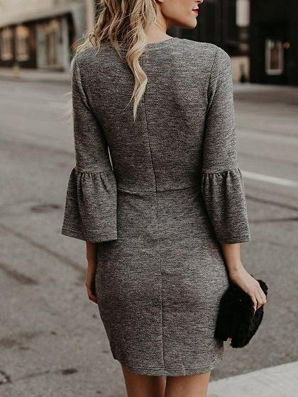 Gray Cotton Flare Sleeve Chic Women Bodycon Mini Dress
