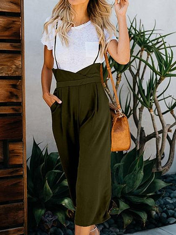 Army Green Spaghetti Strap Pocket Detail Open Back Chic Women Jumpsuit