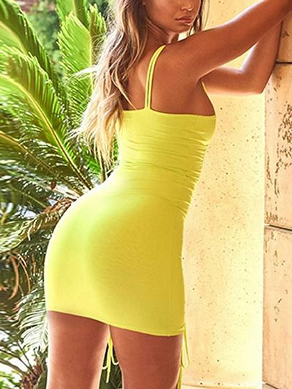 Green Drawstring Detail Chic Women Bodycon Cami Mini Dress