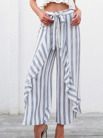 Blue Stripe High Waist Thigh Split Side Chic Women Wide Leg Pants