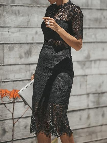 Black Cut Out Detail Sheer Panel Chic Women Lace Bodycon Dress