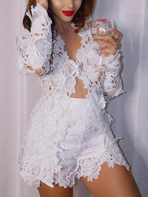 White V-neck Long Sleeve Chic Women Lace Top And High Waist Shorts