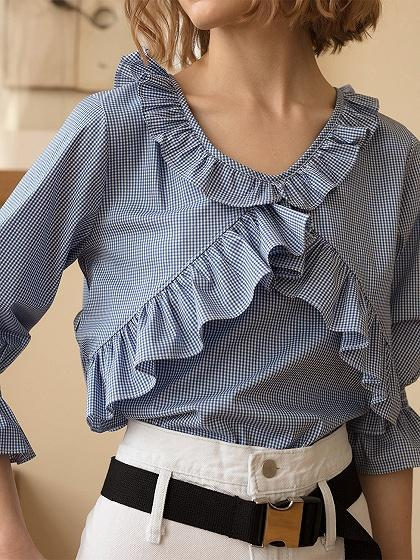 Blue Plaid Cotton V-neck Ruffle Trim Puff Sleeve Chic Women Blouse