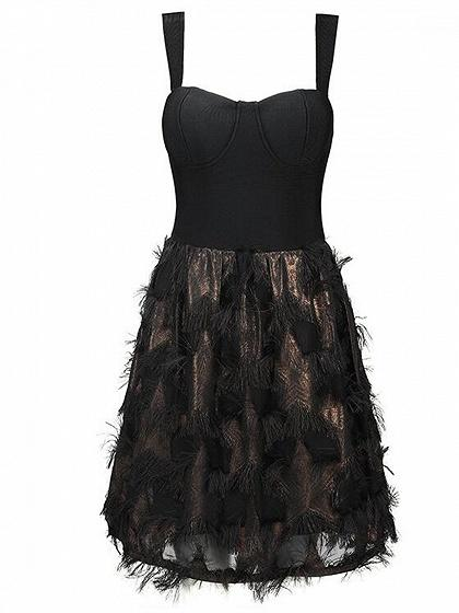Black Tassel Trim Panel Open Back Chic Women Cami Mini Dress