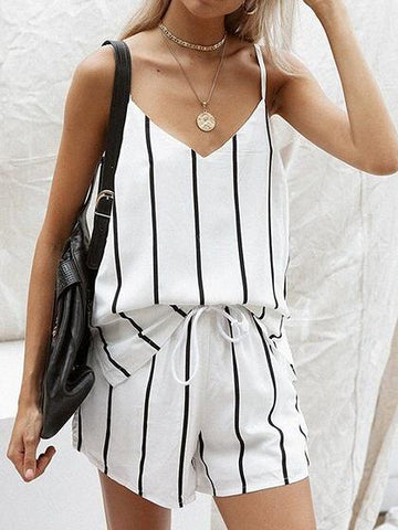 White Stripe Cotton V-neck Chic Women Cami Top And High Waist Shorts