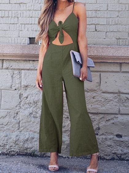 Army Green Spaghetti Strap V-neck Tie Front Chic Women Jumpsuit