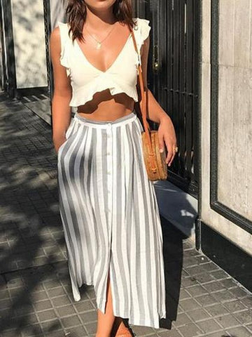 White Cotton V-neck Chic Women Crop Top And High Waist Maxi Skirt