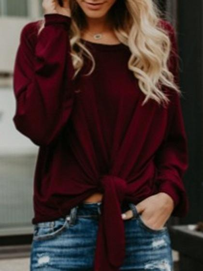 Burgundy Cotton Cold Shoulder Tie Front Long Sleeve Chic Women T-shirt