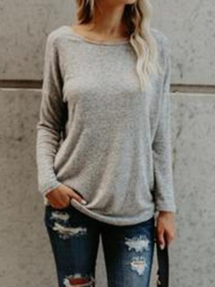 Gray Cotton Knot Detail Open Back Long Sleeve Chic Women T-shirt