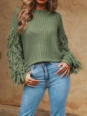 Green Tassel Embellished Long Sleeve Chic Women Knit Sweater