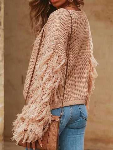 Pink Tassel Embellished Long Sleeve Chic Women Knit Sweater