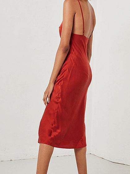 Red Satin Look V-neck Open Back Chic Women Cami Midi Dress