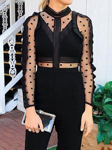 Black Polka Dot Print Sheer Mesh Panel Long Sleeve Chic Women Jumpsuit