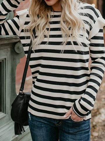 Black Stripe Cotton Long Sleeve Chic Women Blouse