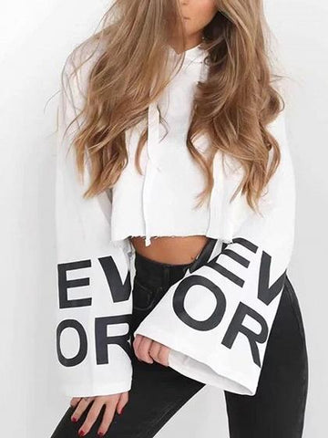 White Cotton Letter Print Flare Sleeve Chic Women Crop Hoodie