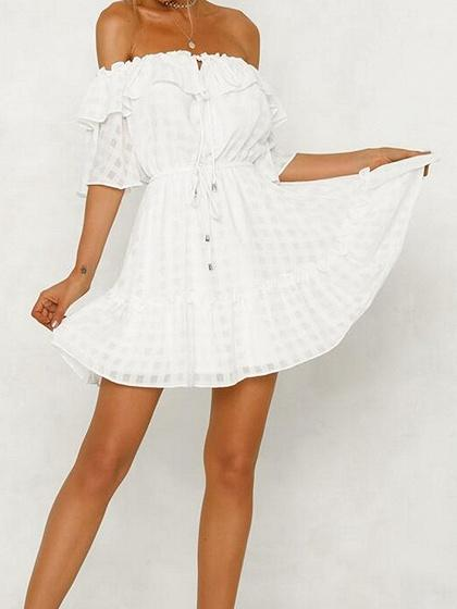 White Plaid Off Shoulder Ruffle Trim Chic Women Mini Dress