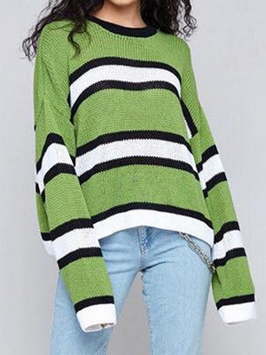 Green Contrast Stripe Long Sleeve Chic Women Knit Sweater