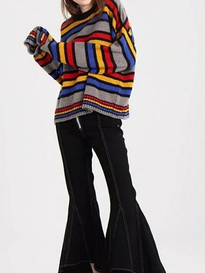 Polychrome Stripe Long Sleeve Chic Women Knit Sweater