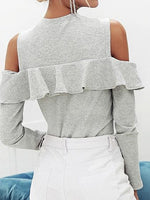 Gray Ribbed Cold Shoulder Ruffle Trim Long Sleeve Chic Women Blouse
