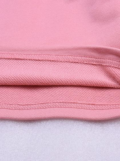 Pink Cotton Letter Print Puff Sleeve Chic Women Crop Sweatshirt