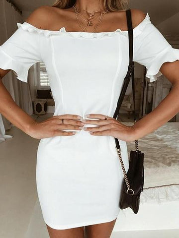 White Off Shoulder Frill Trim Chic Women Bodycon Mini Dress