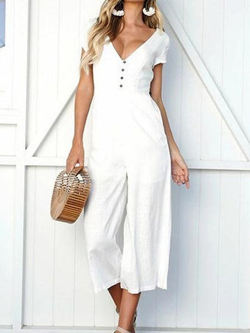 White Cotton V-neck Button Placket Front Chic Women Jumpsuit