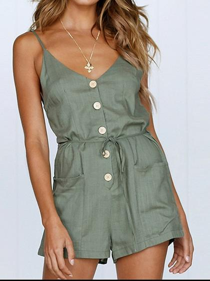 Army Green Cotton Spaghetti Strap V-neck Chic Women Romper Playsuit