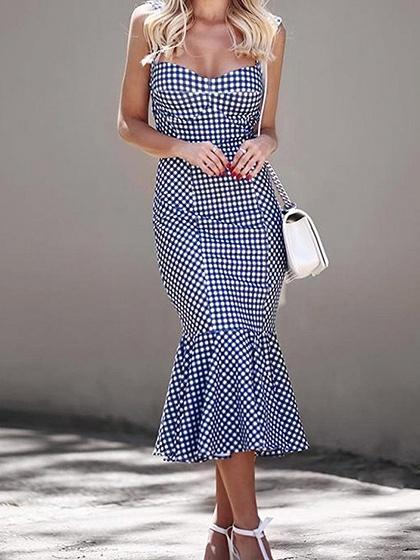 Blue Plaid Cotton Blend Fishtail Hem Chic Women Cami Midi Dress